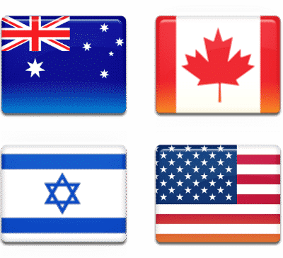 Australia, Canada, Israel, USA flags
